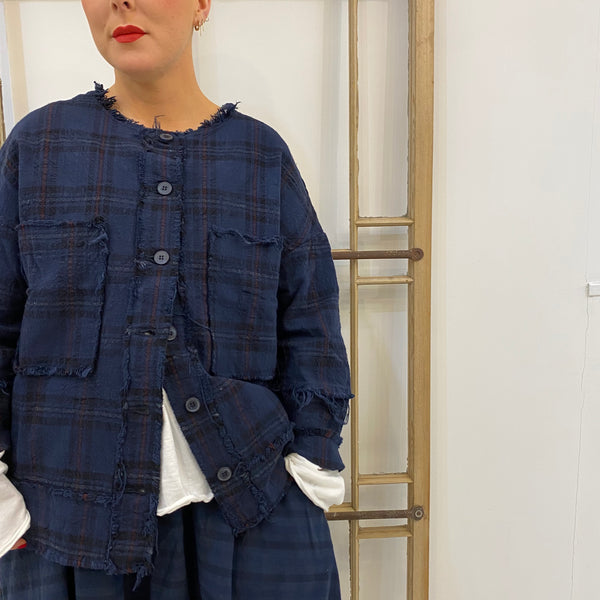 1816 Frayed Edge Check Jacket