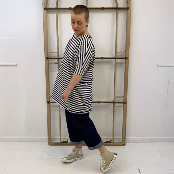 B43 Striped Oversized T-shirt - Navy & Ecru
