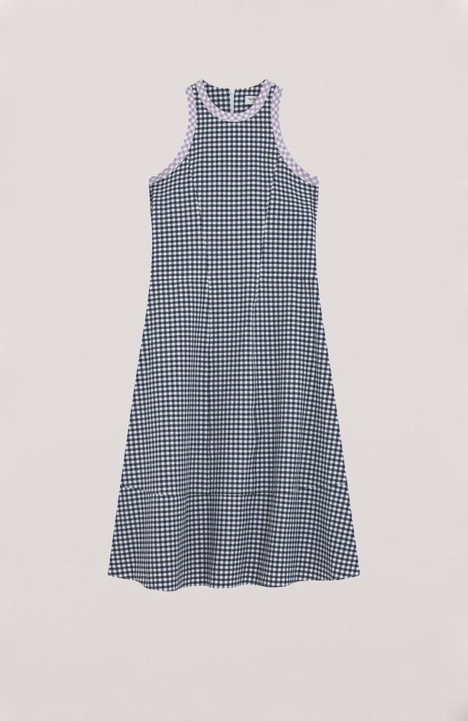 YMC Q1NAC CHECK DRESS, LILAC TRIM