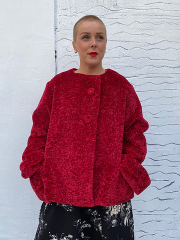 6013M Reversible Fur Jacket - Red