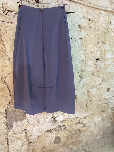 NEIRAMI PS1137 CHINA BLUE WIDE STRAIGHT LEG COTTON TROUSERS