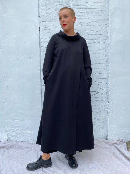 405P0 Cowl Neck Dress - Black