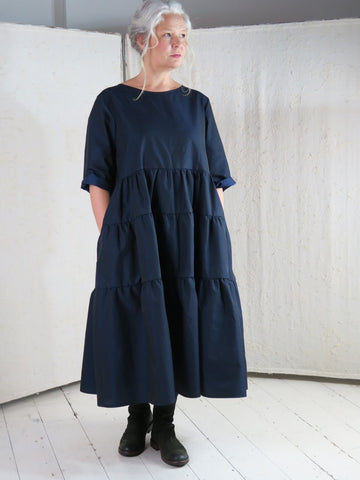 OFFICINAE Pique Taffeta Tiered Dress