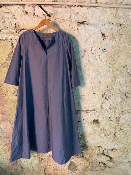 NEIRAMI DS1112 CHINA BLUE COTTON POPLIN SLIT NECK DRESS