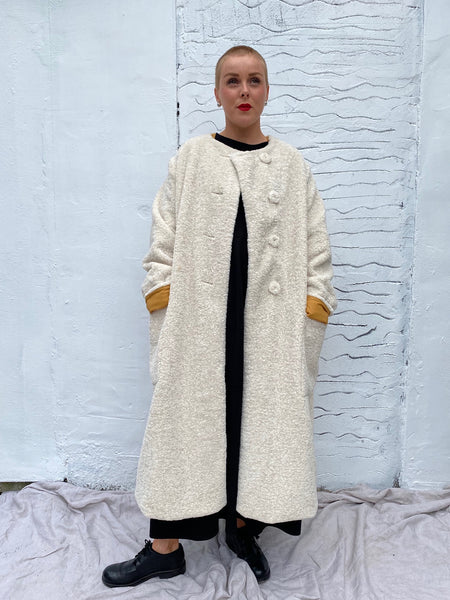 6023M Reversible Fur Coat - Cream