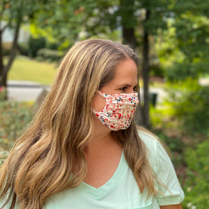 Adult Non Medical White Floral Face Cover