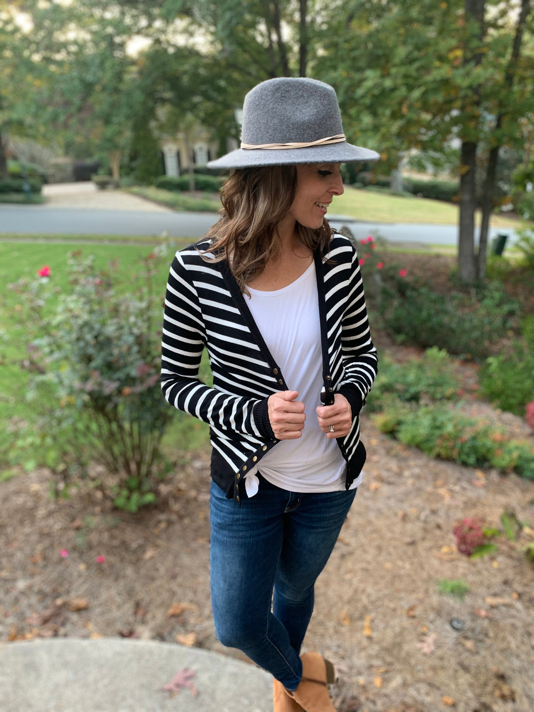 Black Striped Snap Button Cardigan