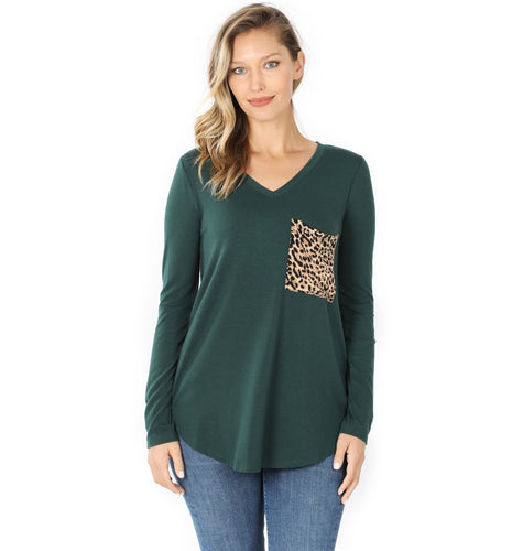 Long Sleeve Leopard Pocket Tunic