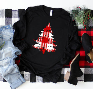 Long Sleeve Buffalo Plaid Christmas Tree