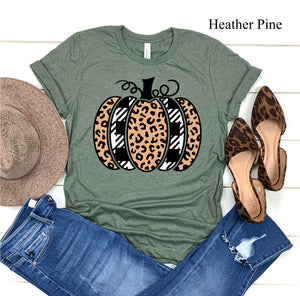 Buffalo Plaid Leopard Pumpkin Tees