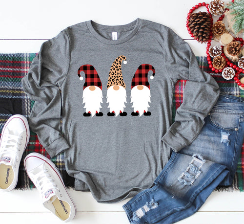 Long Sleeve Christmas Gnome Tee