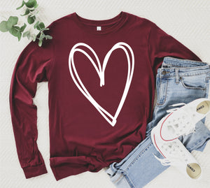 Long Sleeve Heart Outline