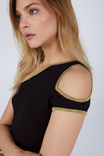 ONE SHOULDER CUTOUT TOP BLACK-GOLD