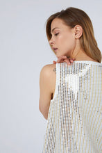 SEQUINED TRICOT TOP WHITE