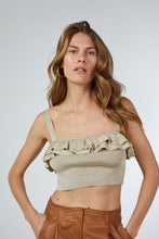 FRILLED CROP TOP GOLD GLITTERED