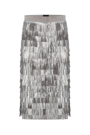 SUEDE MIDI SKIRT WITH SILVER FRINGES