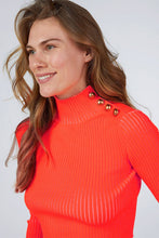 NEON CROP KNITWEAR SWEATER WITH BUTTONED SHOULDER ORANGE