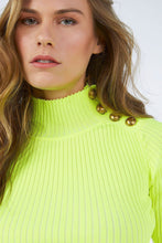 NEON CROP KNITWEAR SWEATER WITH BUTTONED SHOULDER YELLOW