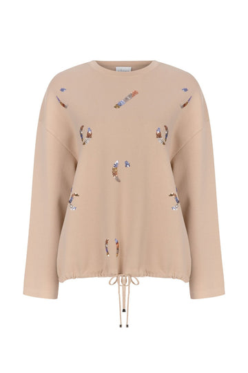 EMBROIDED SWEATER TOP BEIGE