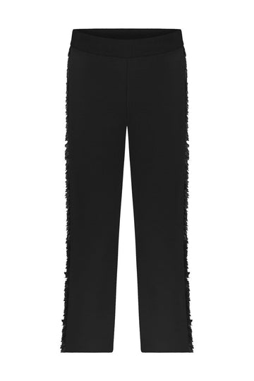 FRINGED KNITWEAR PANTS BLACK
