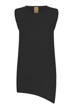 ASYMMETRIC SLEEVELESS INTARSIA TOP BLACK