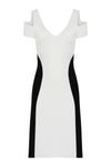 SHOULDER CUTOUT DRESS BLACK & WHITE
