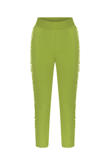 FRINGED KNITWEAR PANTS GREEN