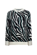 BICYCLE NECK ZEBRA FIGURE SWEATER