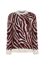 BICYCLE NECK ZEBRA FIGURE SWEATER TİLE RED
