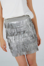 SUEDE MINI SKIRT WITH SILVER FRINGES