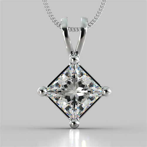 Princess Cut Solitaire Pendant With 16