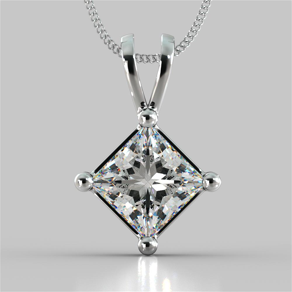 4.0CT Princess Cut Solitaire Pendant With 16