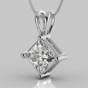 "4.0CT Princess Cut Solitaire Pendant With 16"" Diamond Cut Cable Chain"