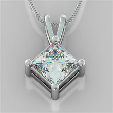 "Load image into Gallery viewer, 4.0CT Princess Cut Solitaire Pendant With 16"" Diamond Cut Cable Chain"