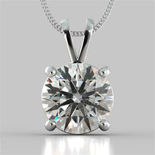 "Load image into Gallery viewer, 5.0Ct Round Cut Solitaire Pendant in 14K White Gold With 16"" Diamond Cut Cable Chain"