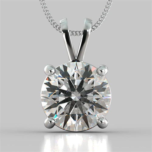 5.0Ct Round Cut Solitaire Pendant in 14K White Gold With 16
