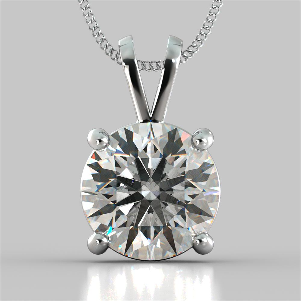 Round Cut Solitaire Pendant With 16