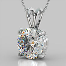 "Load image into Gallery viewer, 3.0Ct Round Cut Solitaire Pendant in 14K White Gold With 16"" Diamond Cut Cable Chain"