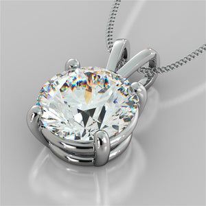"3.0Ct Round Cut Solitaire Pendant in 14K White Gold With 16"" Diamond Cut Cable Chain"