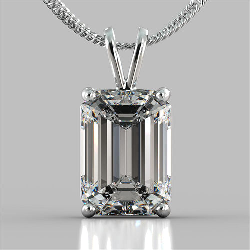 Emerald Cut Solitaire Pendant With 16