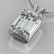 "Load image into Gallery viewer, 3.0CT Emerald Cut Solitaire Pendant set in 14K White Gold With 16"" Diamond Cut Cable Chain"
