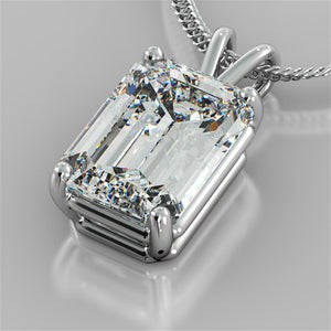 "3.0CT Emerald Cut Solitaire Pendant set in 14K White Gold With 16"" Diamond Cut Cable Chain"