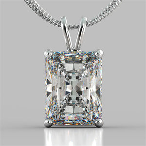 "Radiant Cut Solitaire Pendant With 16"" Diamond Cut Cable Chain"