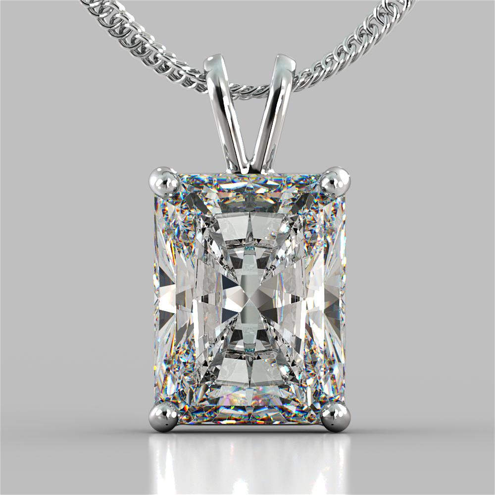 Radiant Cut Solitaire Pendant With 16