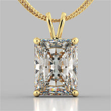 "Load image into Gallery viewer, Radiant Cut Solitaire Pendant With 16"" Diamond Cut Cable Chain"