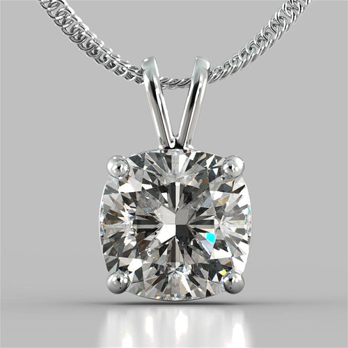 Cushion Cut Solitaire Pendant With 16