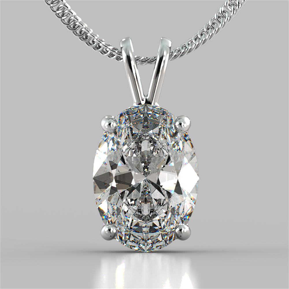 Oval Cut Solitaire Pendant With 16