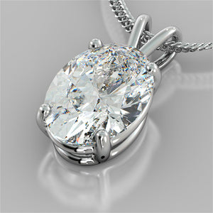"Oval Cut Solitaire Pendant With 16"" Diamond Cut Cable Chain"