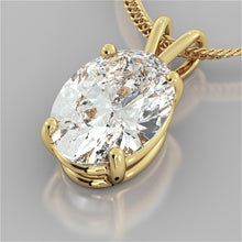 "Load image into Gallery viewer, Oval Cut Solitaire Pendant With 16"" Diamond Cut Cable Chain"