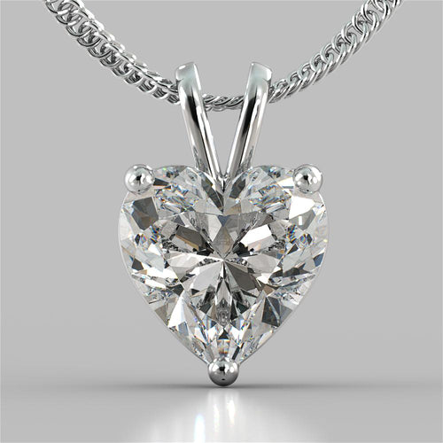Heart Cut Solitaire Pendant With 16